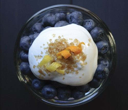 blueberries and brown sugar cream