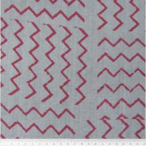 Hand Block Zig Zag Blue Organic Cambric